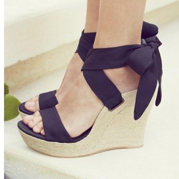 f102c621ebb Ugg Jules black silk ankle wrap wedge sandal. M 5b78ba8881bbc83079dc1af2